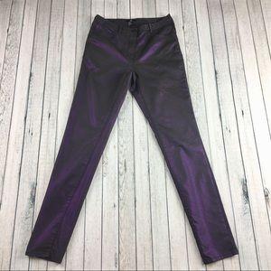 NWOT H&M skinny pants trousers metallic purple 8